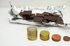Abstraktion auf einem Aufstieg im Preis der Schokolade Stockfotografie