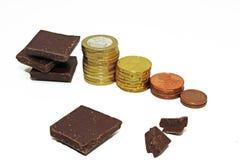Abstraktion auf einem Aufstieg im Preis der Schokolade Stockbild