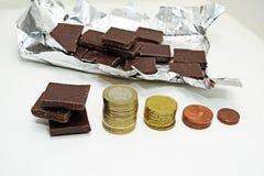 Abstraktion auf einem Aufstieg im Preis der Schokolade Lizenzfreies Stockbild