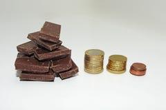 Abstraktion auf einem Aufstieg im Preis der Schokolade Lizenzfreie Stockbilder