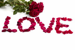 Abstraktion, Aufschriftliebe von den Blumenblättern von Rosen und ein Blumenstrauß Stockbild