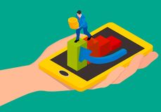Abstraktion der Abhebung von Geld unter Verwendung eines Smartphone lizenzfreie abbildung