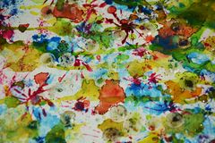 Abstraktion der Aquarellfarbe, kreativer Hintergrund des Wachsfarben-Aquarells Stockfotografie