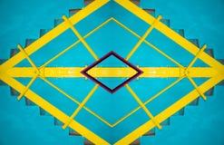 Abstraktion der blauen Leiter mit gelbem Geländer, Hintergrund Stockfotos