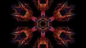 Abstraktion des Farbsymmetrischen Rauches auf einem schwarzen Hintergrund Stockfotos