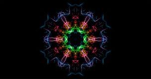Abstraktion des Farbsymmetrischen Rauches auf einem schwarzen Hintergrund Stockfoto