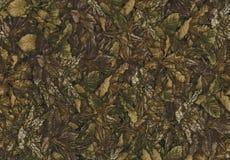 Abstraktion für den Hintergrund dunkelbraunes Gewebe mit den Blumenverzierungen, die vom Wald gemacht werden, verlässt Stockfoto