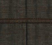 Abstraktion für den Hintergrund dunkelbraunes Gewebe mit der Massennaht Lizenzfreies Stockfoto
