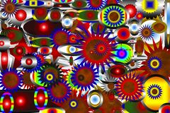 Abstraktion Schön und festlich Farbiger Stern Schwarzer Hintergrund stock abbildung