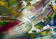 Abstraktion von silbernen Goldpinselanschlägen Aquarellfarben-Zusammenfassungshintergrund Lizenzfreie Stockfotos