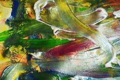 Abstraktion von weißen grünes Goldpinselanschlägen Aquarellfarben-Zusammenfassungshintergrund Stockfotos