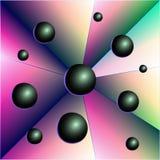 Abstraktionbollar, trianglar, geometriskt diagram royaltyfri illustrationer