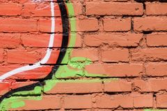Abstrat detail of street art graffiti. Background closeup. Paint on brick wall Royalty Free Stock Images