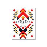 Abstrat ethnic card, colorful ethno tribal geometric ornament, trendy pattern element for business, logo, invitation. Flyer, poster, banner vector Illustration royalty free illustration