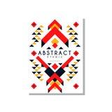 Abstrat etniczna karta, kolorowego ethno plemienny geometryczny ornament, modny deseniowy element dla biznesu, logo, zaproszenie royalty ilustracja