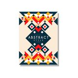 Abstrat style ethnic card temlate, colorful ethno tribal geometric ornament, trendy pattern element for business, logo. Invitation, flyer, poster, banner Royalty Free Stock Photography