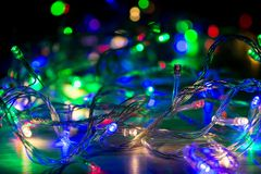 Abstract colorful bokeh of Christmas garlands. Abstract colorful bokeh of Christmas garlands Stock Photography