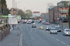 Abstrct-blure auf der Straße mit Autos in Manchester Großbritannien England Stockfotografie