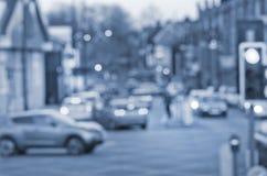 Abstrct-blure auf der Straße mit Autos in Manchester Großbritannien England Lizenzfreie Stockfotos