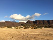 Abstreifensand-Strand am Polihale-Nationalpark auf Kauai-Insel Stockfotografie