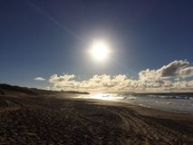 Abstreifensand-Strand am Polihale-Nationalpark auf Kauai-Insel Stockbilder