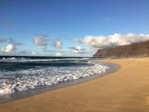 Abstreifensand-Strand am Polihale-Nationalpark auf Kauai-Insel, Hawaii Stockbild
