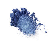 Abstrich des zerquetschten blauen Lidschattens Stockbilder