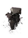 Abstrich des zerquetschten glänzenden grauen Lidschattens als Probe des kosmetischen Produktes Lizenzfreie Stockfotografie