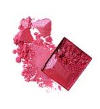 Abstrich des zerquetschten glänzenden rosa Lidschattens als Probe des kosmetischen Produktes Lizenzfreie Stockfotos