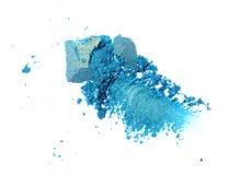 Abstrich des zerquetschten grünen Lidschattens als Probe des kosmetischen Produktes Lizenzfreie Stockbilder