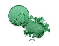 Abstrich des zerquetschten grünen Lidschattens als Probe des kosmetischen Produktes Stockbilder