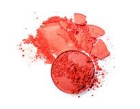 Abstrich des zerquetschten orange Lidschattens als Probe des kosmetischen Produktes Lizenzfreies Stockbild