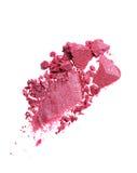 Abstrich des zerquetschten purpurroten Lidschattens als Probe des kosmetischen Produktes Lizenzfreie Stockfotos