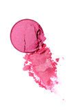 Abstrich des zerquetschten rosa Lidschattens als Probe des kosmetischen Produktes Lizenzfreie Stockbilder