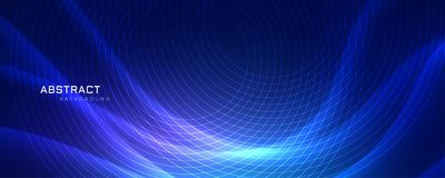 Abstrract blue wavy background with circular lines. Vector royalty free illustration