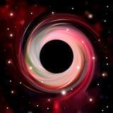 Abstrsct przestrzeń - czarna dziura Kosmos Czarna dziura w przestrzeni Gwiazdy i materiałów spadki w czarną dziurę ilustracji
