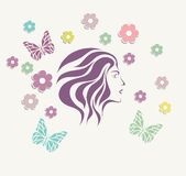 Abstrzct girl face background with flower vector Stock Photo