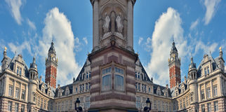 Absurd re-imagined mirorred image, Brussels Architecture. BRUSSELS, BELGIUM, April 2016: Town hall of Saint-Gilles, Neo-Renaissance, The monumental Hall of the Royalty Free Stock Photo
