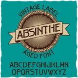 Absynt etykietki chrzcielnica i próbki etykietki projekt z dekoracją Obraz Stock