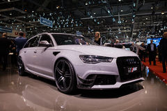 ABT Sportsline Audi RS6. GENEVA, SWITZERLAND - MARCH 1: Geneva Motor Show on March 1, 2016 in Geneva, ABT Sportsline Audi RS6, side-front view royalty free stock photo