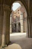 Abtei St. Galgano (Abbazia di San Galgano), Weinleseblick Toskana, Italien Stockbild