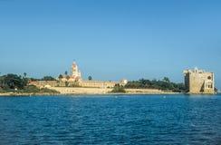 Abtei und Festung auf dem Ile-Heiligen Honorat Stockbild