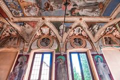 Abtei von Monte Oliveto Maggiore, Toskana, Italien Stockfotografie