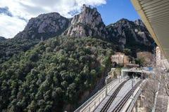 Abtei von Montserrat-Eisenbahn Stockfoto