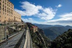 Abtei von Montserrat-Eisenbahn Stockfotografie