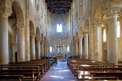 Abtei von Sant-` Antimo in Montalcino, Toskana, Italien Stockfotos