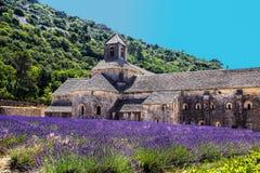 Abtei von Senanque und von Blühen rudert Lavendelblumen Gordes, Luberon, Vaucluse, Provence, Frankreich Lizenzfreie Stockfotos