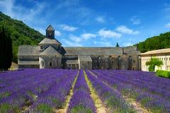 Abtei von Senanque und von Blühen rudert Lavendelblumen Lizenzfreies Stockbild
