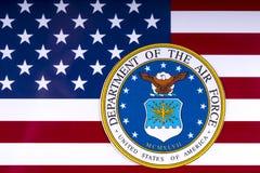 Abteilung der Luftwaffe und der US-Flagge Stockfotos