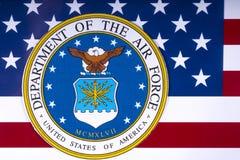 Abteilung der Luftwaffe und der US-Flagge Lizenzfreies Stockbild